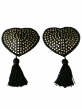 Sexy Black Heart Shape Fringed Matte Satin PU Leather Woman's Pasties
