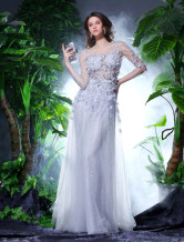 Silver Tulle Beading Prom Dress Milanoo