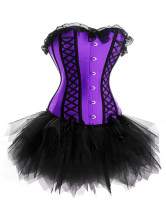 Purple Contrast Black Tulle Layered Corset Dress