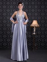 Baby Blue Evening Dress Halter Beading Party Dress V Neck Backless Satin Long Prom Dress