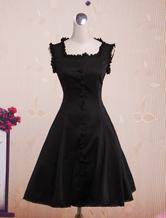 Quadrado de algodão preto clássico pescoço Lolita Jumper saia