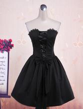 Punk Style Black Sleeveless Cotton Lolita One-Piece
