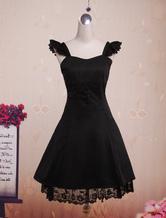 Lolitashow Jupe Jumper Lolita classique en coton noir, lanières au cou