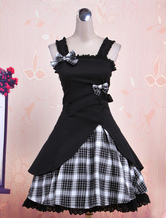 Lolitashow Gothic Lolita Dress JSK Black Gingham Applique Lolita Jumper Skirt