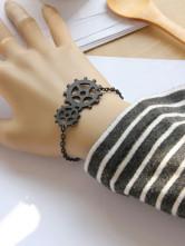 Lolitashow Punk Style Black Unisex Cotton Lolita Bracelet