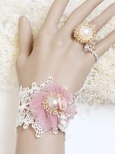 Lolitashow Pulseira de Lolita doce algodão rosa