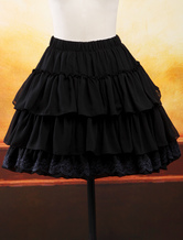Lolitashow Black Chiffon Lolita Skirt Layers Ruffles Lace Trim