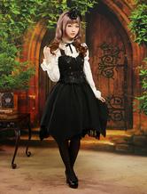 Lolitashow Süßes schwarzes Lolita Kleid und weißes Hemd