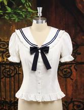 Lolitashow White Sweet Lolita Blouse