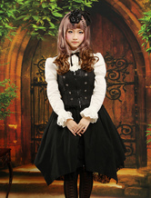 Lolitashow Gothic Black Halter Drawstring Jacquard Lolita Jumper Skirt