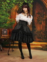 Lolitashow Multi Color Layered Long Sleeves Elastic Silk Like Satin Jacquard Lolita Outfits