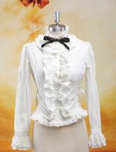 Lolitashow Elegant White Ruffles Long Sleeves Pure Cotton Lolita Blouse
