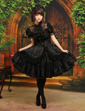 Lolitashow Gothic Lolita Outfit Black 2 Piece Set Lace Ruffle High Waist Skirt With Blouse