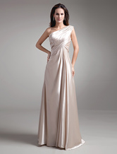 Brautmutterkleider A-Linie- Abendkleider für Hochzeit Stretch Satin Kleider für Hochzeitsgäste Champagner       ärmellos Einschulter bodenlang