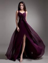 A linha uva Beading Chiffon vestido de baile com correias de pescoço