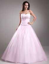 Vestido de baile de doce-de-rosa Beading tule querida pescoço feminino