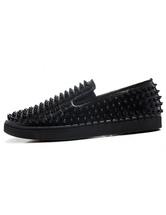 Men's Black Spikes Round Toe Slip On Sneakers