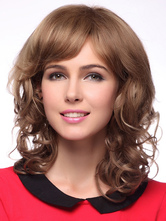 Anime Costumes AF-S2-342746 Light Tan Shoulder Length Curly Human Hair Wigs For Woman