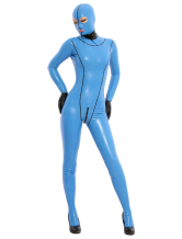Anime Costumes AF-S2-343622 Halloween Blue Latex Zentai Suit with Eyes & Mouth Opened
