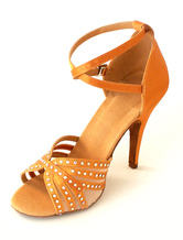 Latin Dance Shoes Satin Peep Toe Rhinestones Criss Cross Ballroom Shoes