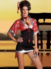 Anime Costumes AF-S2-347332 Halloween Geisha Costume Charming Multi Color Color Block Polyester Sexy Kimono