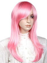 Anime Costumes AF-S2-349184 Gorgeous Pink Medium Straight Synthetic Woman's Medium Halloween wig