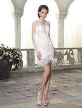 Etui-Brautkleid aus Spitze mit Rundkragen und Rüschen Mini-Kleid in Elfenbeinfarbe Milanoo