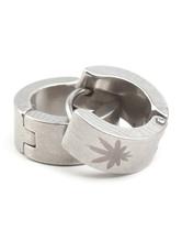 Unique Silver Leaf Stainless Steel Pierced Ear Hoop For Men