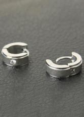 Gorgeuos Silver Stainless Steel Crystal Pierced Ear Hoop