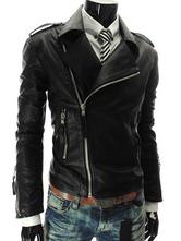 Men PU Jacket Metallic Zipper Moto Jacket Surplice Turndown Collar Black Leather Jacket