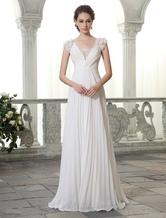 Beach Wedding Dresses V Neck Chiffon Summer Bridal Dress Chiffon Flowers Beading Pleated Floor Length Wedding Gown Milanoo