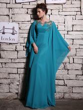 Vestido de noche de chifón Verde azulado con manga larga con escote ovalado con bordado cintura natural Vestidos de boda para huéspedes Milanoo