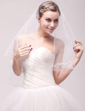 Слоновой кости, кружева чистой одноуровневая аппликацией свадебное вуаль