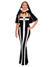 Anime Costumes AF-S2-365737 Halloween Nun Black Costume With Stripes