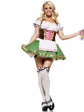 Anime Costumes AF-S2-365995 Halloween Attractive Green Cotton Fibers Women's Sexy Costume