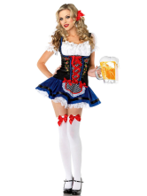 Anime Costumes AF-S2-365947 Halloween Deep Blue Sexy Maid Costume For Woman