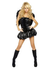 Anime Costumes AF-S2-365899 Halloween Black Faux Fur Woman's Sexy Angel Costume