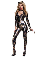 Anime Costumes AF-S2-365863 Halloween Catwoman Costume Black Leopard Faux Fur Sexy V-Neck Catsuit