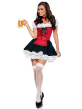 Anime Costumes AF-S2-365955 Maid Pattern Red Cotton Fibers Women's Sexy Costume for Halloween