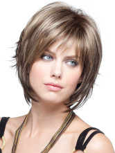 AF-S2-366507 Light Brown Straight Short Wig For Woman