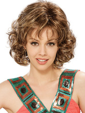Brown Synthetic Curly Woman's Medium Wig