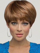 Светло-коричневый синтетических прямо натуральных женщин короткий парик