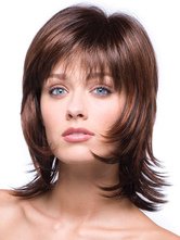 Brown Synthetic Straight Attractive Medium Wig For Woman