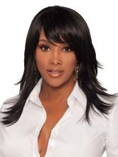 AF-S2-366691 Black Medium Straight Synthetic Quality Women's Medium Wig