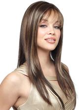 Мода коричневый прямой Lounge синтетических длинный парик для женщины