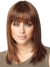 Anime Costumes AF-S2-366535 Brown Shoulder Length Straight Synthetic Natural Woman's Medium Wig