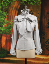 Lolitashow Elegant Gray Cotton Long Sleeves Lolita Shirt