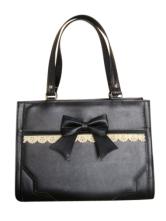 Lolitashow Classic Wine/Black/Brown Lolita Handbag Bow Decor Hollow Trim