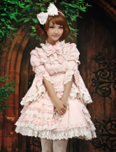 Lolitashow Sweet Long Sleeves Cotton Blend Light Pink Lolita Outfits