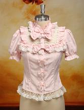 Lolitashow Dandy Pink Detachable Long Sleeves Cotton Blend Lolita Shirt
